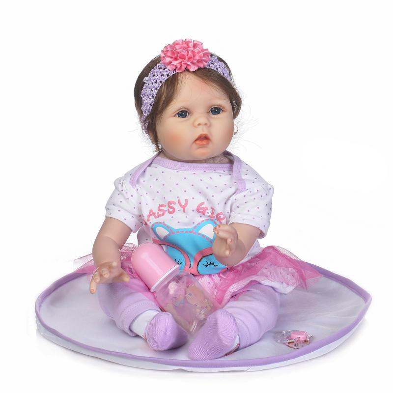 New Arrival 55cm soft Silicone Baby Doll 100% Handmade Reborn Babies Girl Lifelike For Kids Christmas or Birthday Xmas Gift new arrival 55cm blue eyes pink clothes lifelike baby soft girl doll with free plush toy as kids xmas gifts birthday doll toys