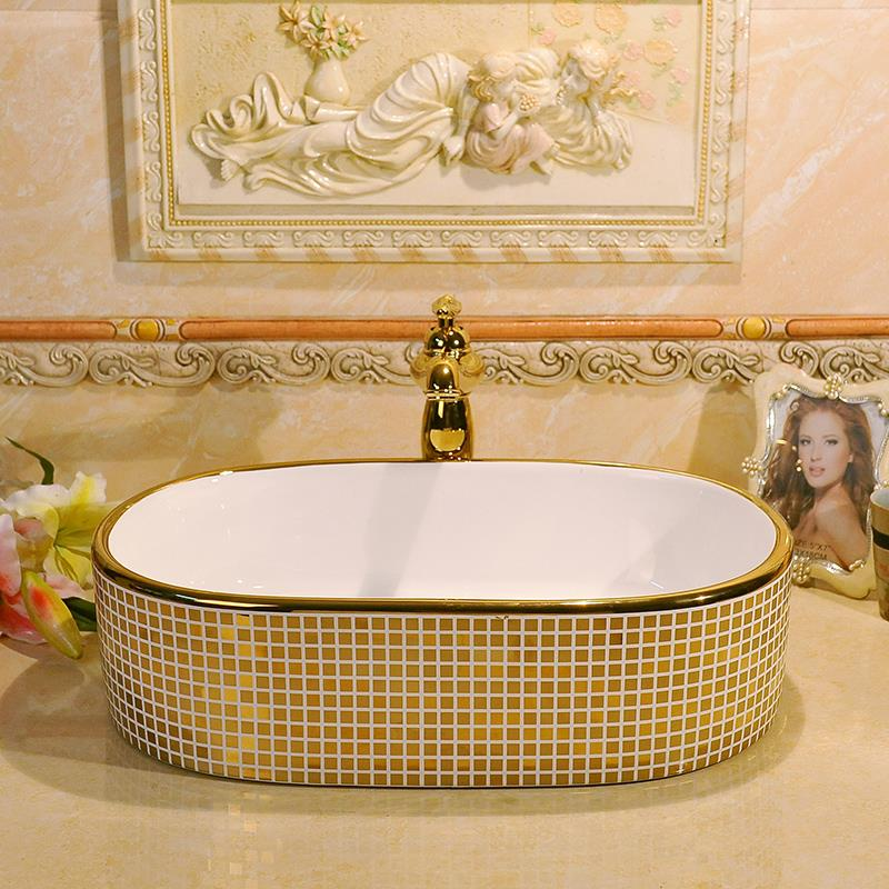 Gold Mosaic Design Oval Basin Washbasin Jingdezhen Art Ceramic Wash Basin Vessel Sinks Countertop Bathroom Sinks