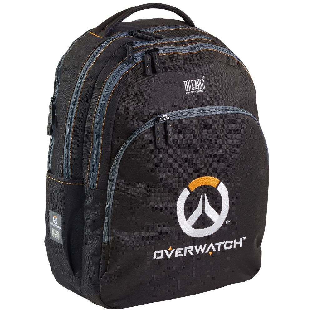 Overwatch OW Black Backpack School Bag Travelling Internal compartment 55cm H 43 W