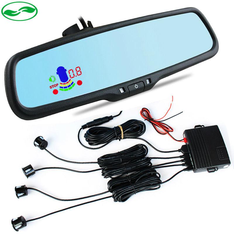 цена на 4 Sensors 6 Color Car LED Mirror Parking Assistance Backup Radar Sensor For Special Bracket Rearview Blue Mirror Parking Monitor