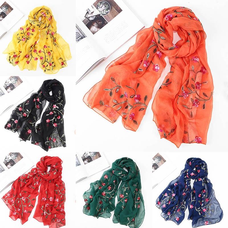 Fashion Embroidery Beach Summer Shawls Chiffon Flower Scarves Women Silk Scarf Wraps