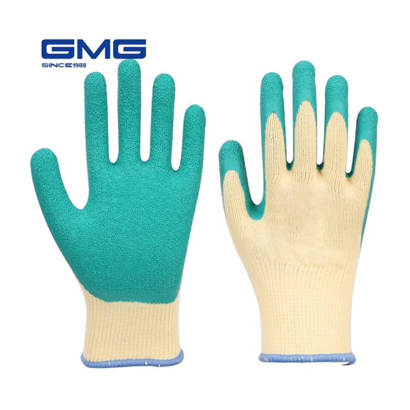 Working Gloves Men GMG CE Certificated EN388 Polyester Latex Crinkle Rubber Gloves Work Safety Gloves Hand