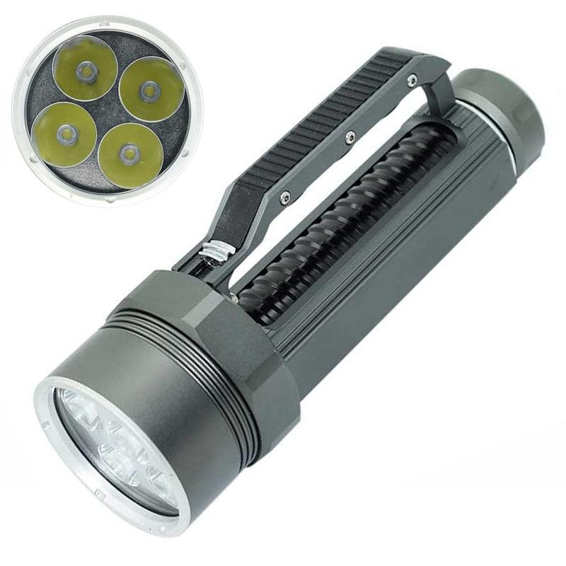 Haute qualité XML-L2 10000 Lumens lampe de poche LED brillant plongée argent lampe de poche torche 4x XML L2 100 m plongeur