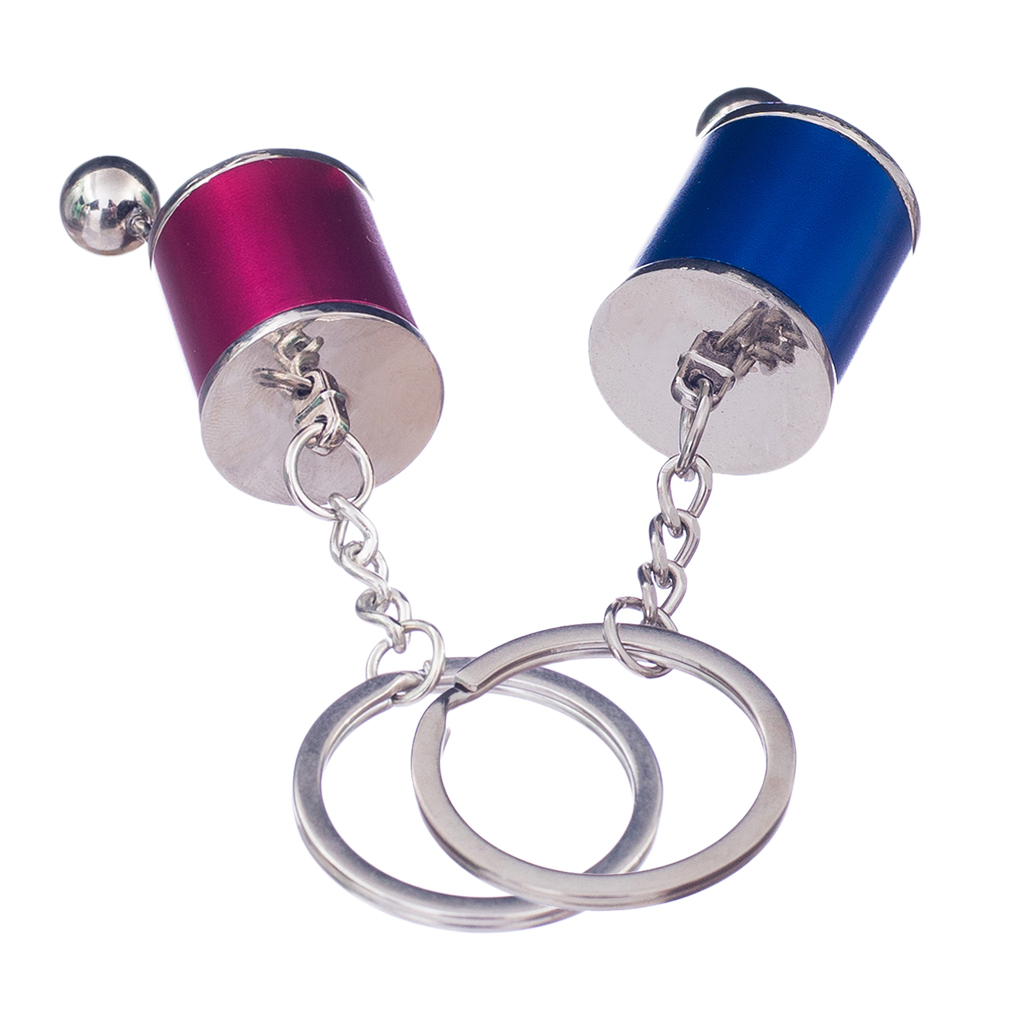 2 Pcs Metal Shift Knob Stick Box Shifter 6-Speed Keychain Fob Ring Keyrings Universal