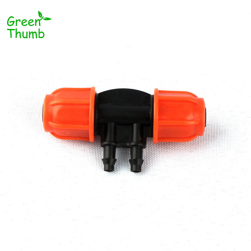 40pcs Green Thumb 8/11mm to 4/7mm Hose Splitter Thread Lock Garden Hose Barbed 4 Ways Connector for Micro Drip Irrigation System