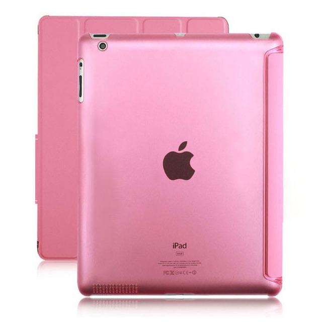 New for apple iPad 2 iPad 3 iPad 4 Transparent Clear Leather Smart Cover Case