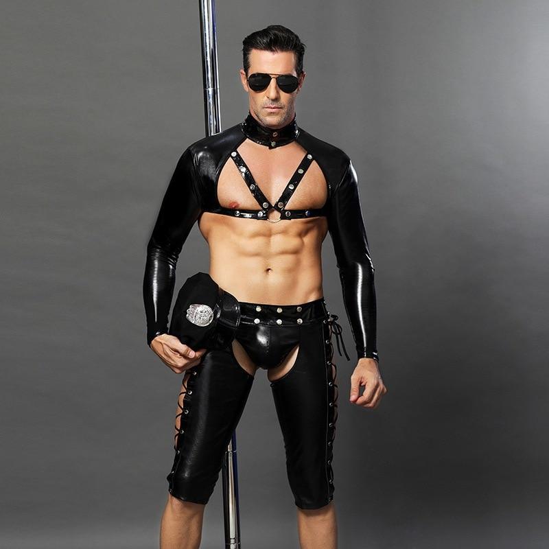 4 pièces PVC Sexy Police hommes Cosplay vinyle cuir Catsuit flic uniforme Lingerie sous-vêtements pour Gay adulte fantaisie Costume