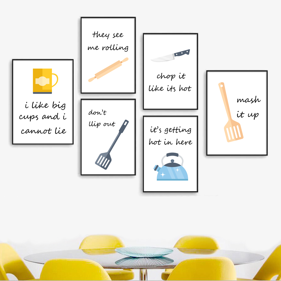 Cartoon Kitchen Ware Knife Shovel Cup Nordic Posters And Prints Wall Art Canvas Painting Pop Pictures For Decor