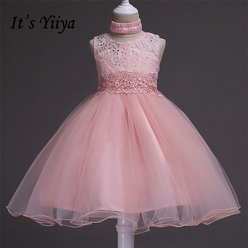 It's yiiya Hot Bling   Flower     Girl     Dresses   Pure Color Princess Ball Grown O-neck Sleeveless   Girls     Dress   007