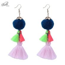 Badu Colorful Tassels Earring Women Fashion Party Long Drop Earrings Statement Bohemian Pom Jewelry Mother Gift