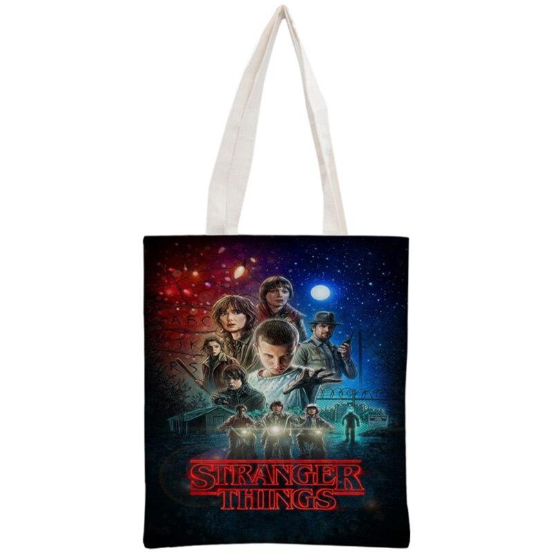 Custom Stranger Things Tote Bag Reusable Handbag Women Shoulder Foldable Cotton Canvas Shopping Bags