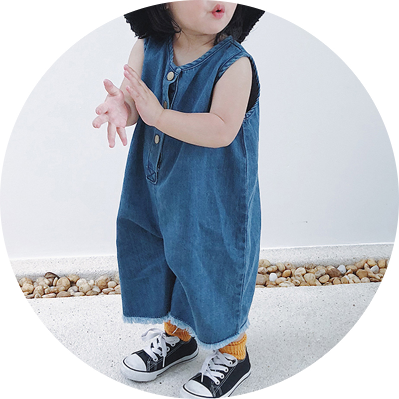 12M-5T Fashion Tassel baby girl summer clothes Denim baby onesie Sleeveless Jumpsuit clothing for baby Casual romper for boys