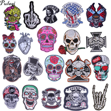Pulaqi Diy Punk Patches For Jeans Backpacks Skull Embroidery Stickers Sew On Iron-on Patch Stripes Clothes Rose F
