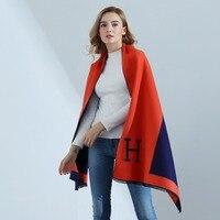 Women Scarves Shawls Spring Autumn Winter Warm Scarf Soft Vintage H Letter Pareo Wraps Blankets Wool