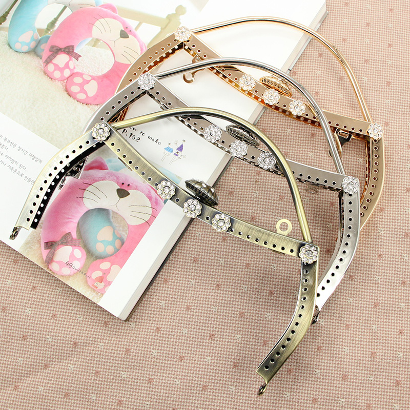 1 pcs Size 20 CM Crystal Purse Frame Bag Handle DIY Sewing Purse Frames Metal Purse Handle China Online Shop Metal Purse Frame