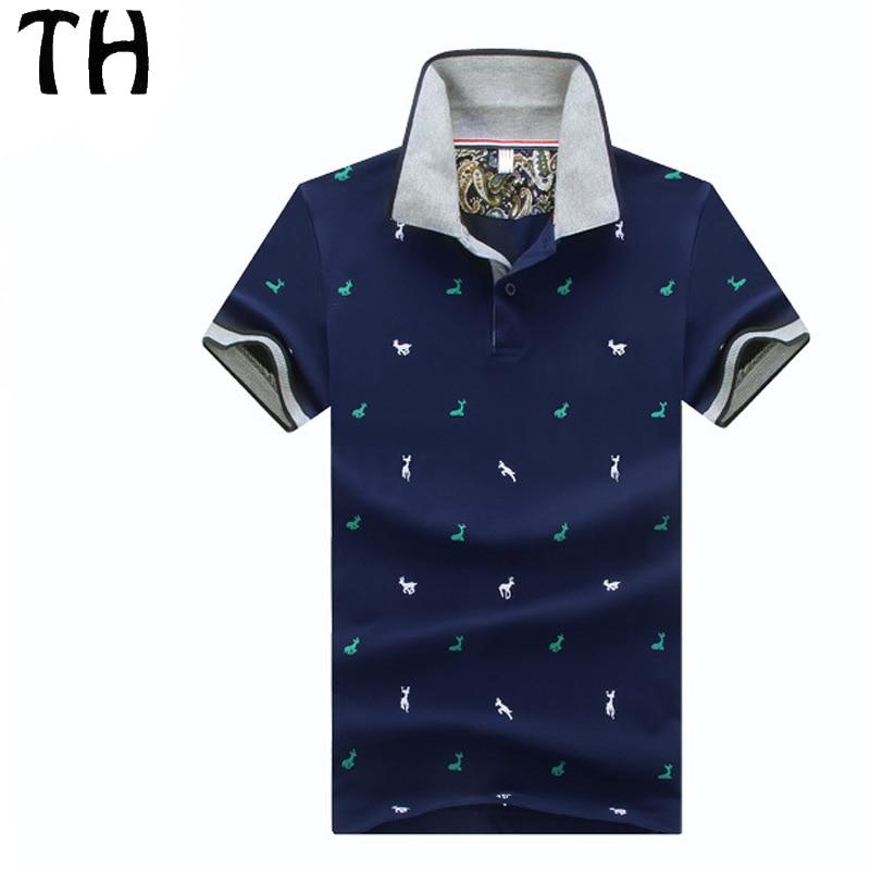 2016 slim fit estilo polo homme camisa verano gira el collar abajo camiseta  hombres deer imprimir casual polo camisas  161140 en Polo de Ropa y  Accesorios 28a17ce037dc3