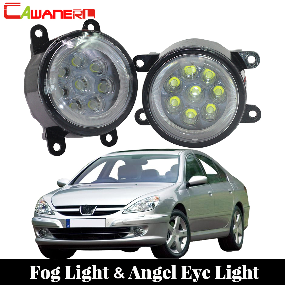 Cawanerl For 2000-2006 <font><b>Peugeot</b></font> <font><b>607</b></font> (9D, 9U) Saloon Car LED Fog Light Bulb Angel Eye DRL Daytime Running Light 12V Accessories image