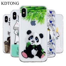 KDTONG Panda Case For Cover iPhone X XS Max XR Soft Silicone Transparent TPU Fundas Capa