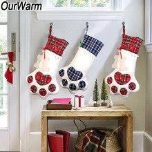 OurWarm Christmas Gift Stockings Big Paw Socks Red Blue Plaid Dog Candy Bags Party Decoration New Year 2019