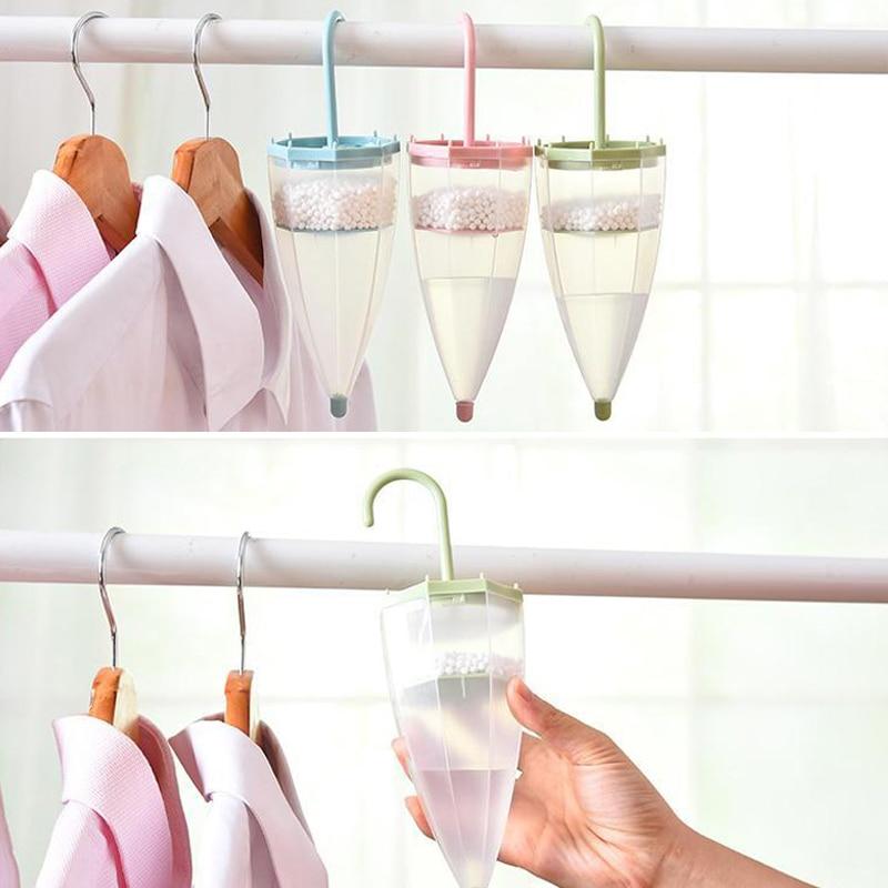Wardrobe Hanging Dehumidifier Damp Trap Umbrella Shape Air Moisture Mildew Absorb -Drop