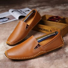 купить Big Size Men Genuine Leather Shoes Slip on Comfortable  Shoes Real Leather Loafers Mens Moccasins Shoes Italian Designer Shoes онлайн