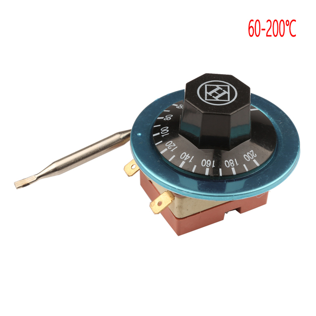 60 200 Degrees Celsius Adjustable Temperature Control Switch 2 Pin Capillary Dial Thermostat 220V