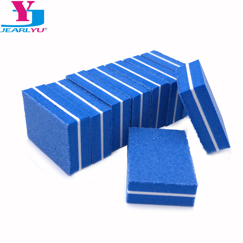 20 шт синяя мини-губка для ногтей, пилочка для ногтей 100/180, Шлифовальная Пилка Для Ногтей, буферные профессиональные инструменты для ногтей, м...