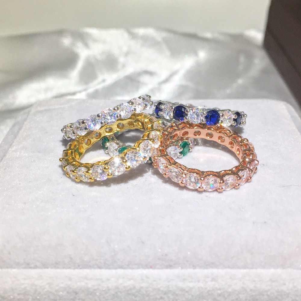 ห้ารูปแบบยี่ห้อ 925 แหวนเงินสเตอร์ลิง 4mm 1 กะรัต Sona แหวนหมั้นเพชรแหวนผู้หญิงผู้ชายเครื่องประดับ