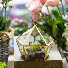 Modern Glass Geometric Terrarium Five Sides Tabletop Succulent Fern Moss Plant Display Terrarium Box Planter Bonsai Flower Pot