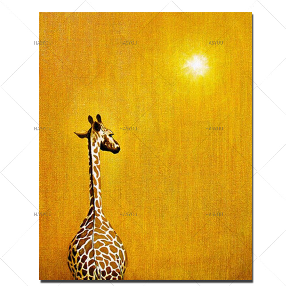 Abstract Oil Painting In The Sunset Hand Pictures Modern Wall Art Animal Giraffe On Canvas Decor