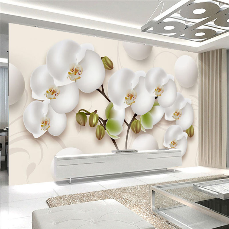 3D Wallpaper Modern HD Stereo Orchid White Flowers Photo Wall Murals Living Room TV Sofa Backdrop Wall Home Decor Papel Mural 3D