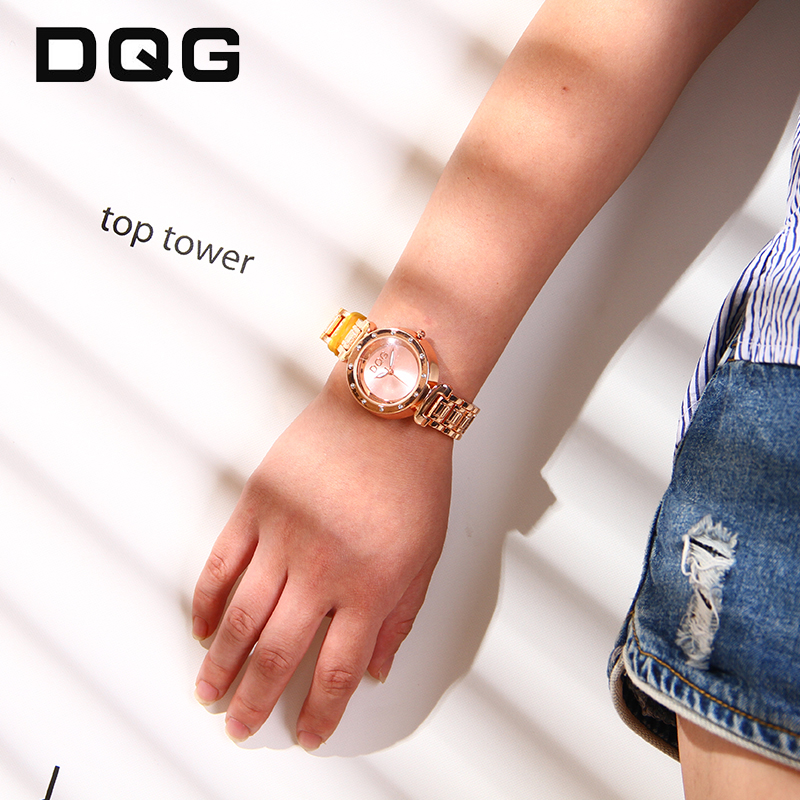 2018 DQG Rose Gold Rhinestone Watch Kvinders Quartz Watches Damer Top - Dameure - Foto 1