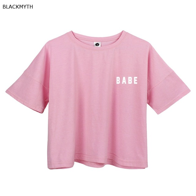 575d50376b0 BLACKMYTH BABE Print White Crop Tops Summer Short Sleeve T shirts Harajuku  Fitness Women Fashion T-shirt Pink Black
