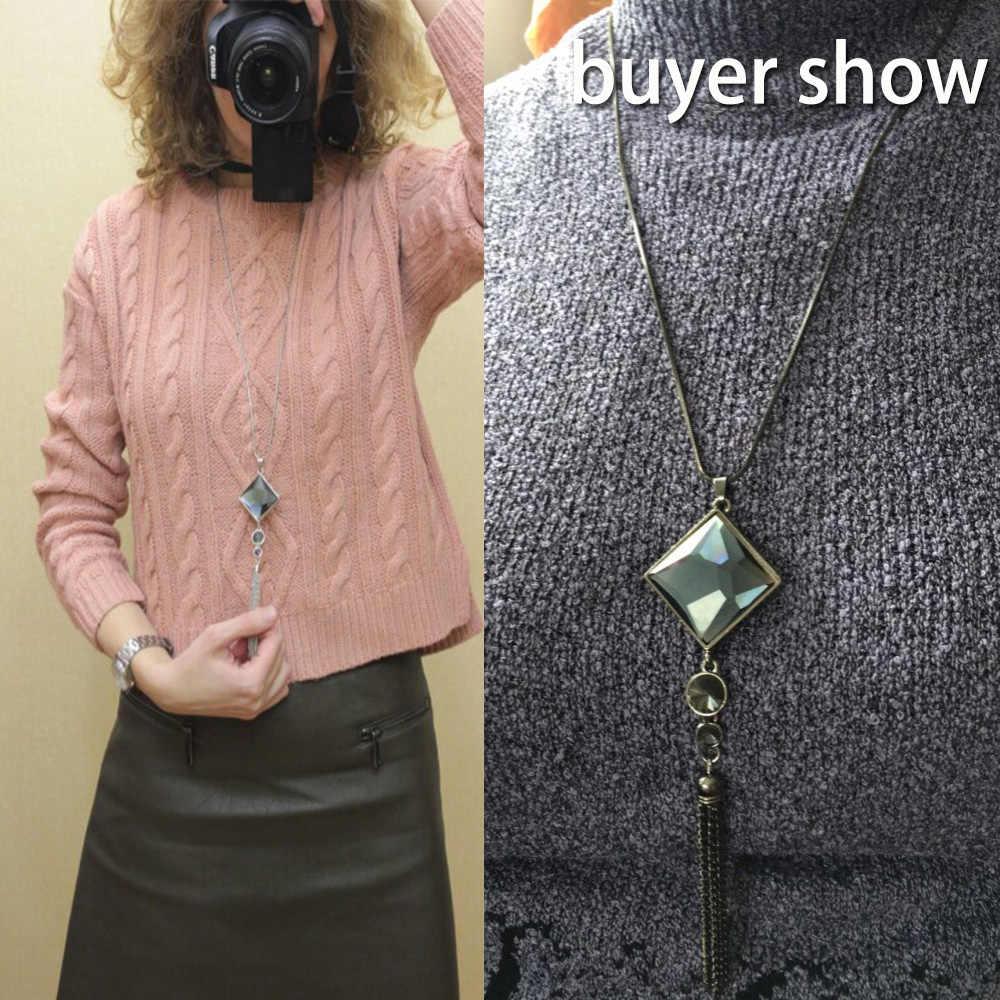 2019 New Fashion naszyjnik damski z wisiorkiem kwadratowy duży spadek kryształ długi łańcuch sweter Tassel naszyjniki biżuteria Choker collier femme