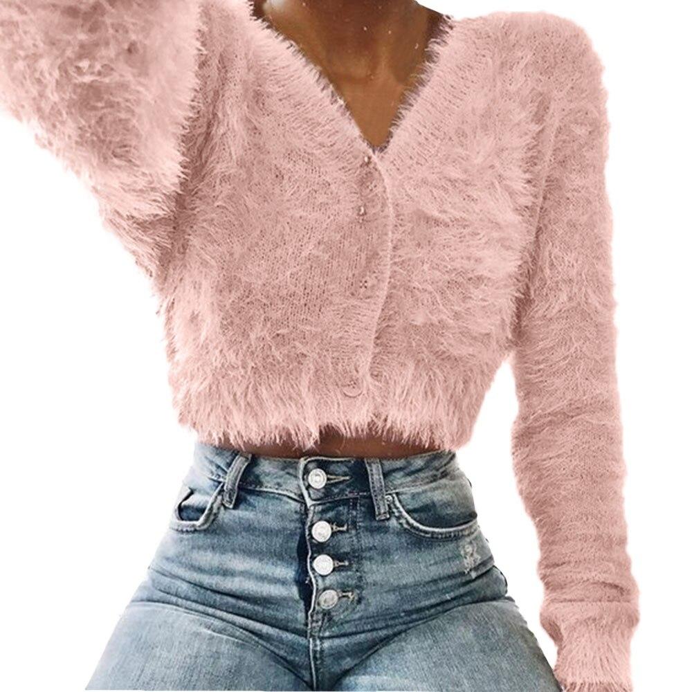 Autumn Winter Women Sweater Fashion V-Neck Long Sleeve Furry Casual Sweater Crop Popular Women Tops Sweater For Women Pull Femme
