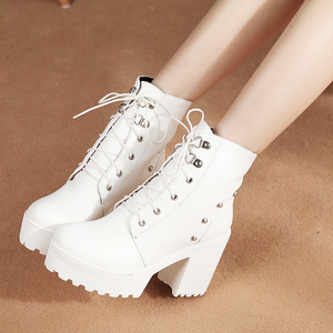 Image 2 - Blue Black Fashion Platform Martin Boots Women Thick High Heels Ankle Boots Lace Up Autumn Winter Woman Shoes White