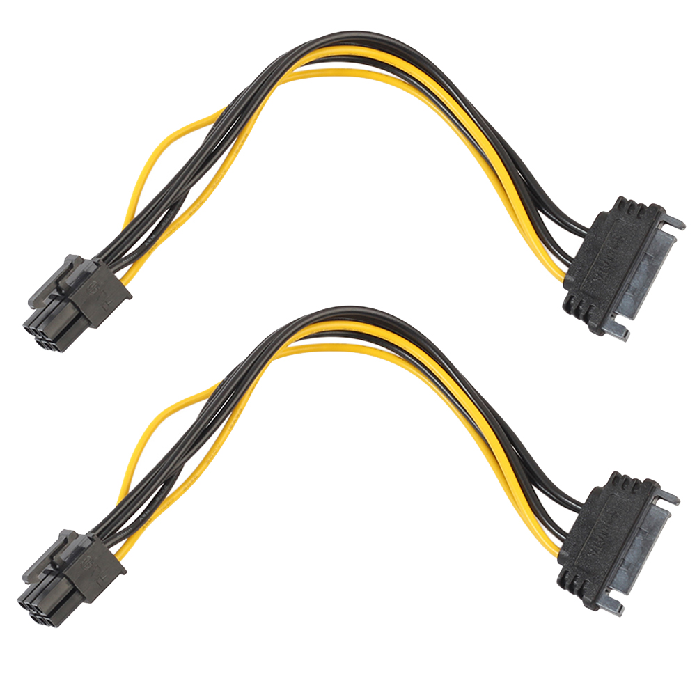 VAKIND 2pcs/lot 20cm SATA 15 Pin Male To PCI-e 6 Pin PCI Express Female Video Card Power Cable For Bitcoin Mining Machine кабель orient c391 pci express video 2x4pin 6pin