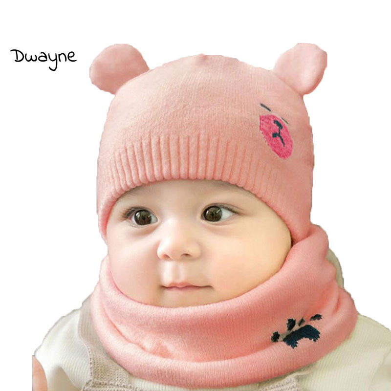 Baby Boy Caps Winter Girl Hats And Ring Scarves 2 Pcs Set Cotton Kids Cartoon Beanies Cap Scarf Collar Children Hat Accessories