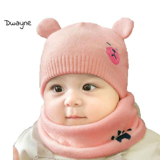 94e11b38035 Baby Boy Caps Winter Girl Hats And Ring Scarves 2 Pcs Set Cotton Kids  Cartoon Beanies Cap Scarf Collar Children Hat Accessories