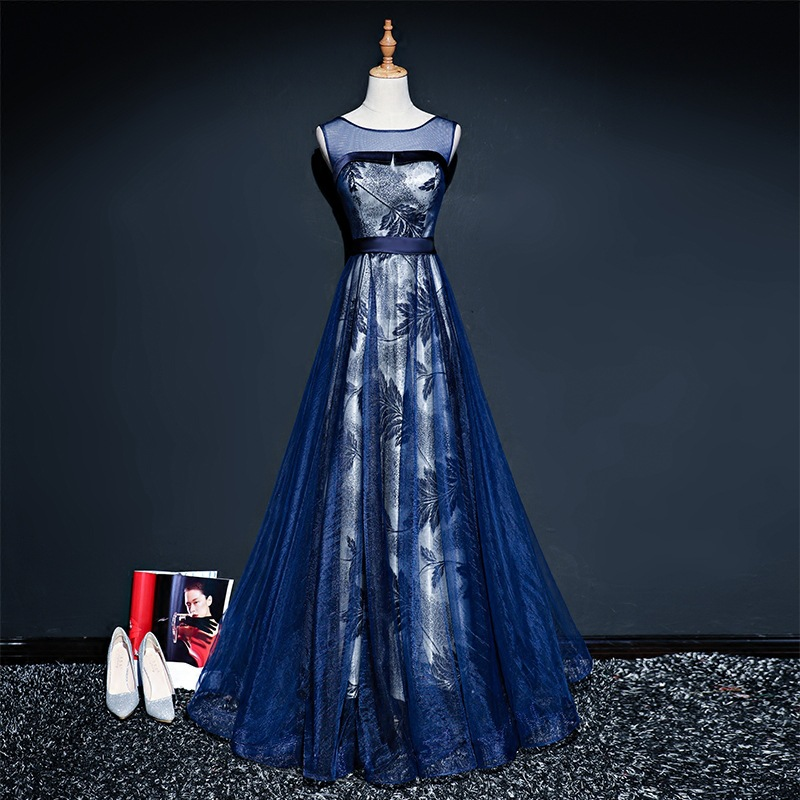 It's YiiYa Navy Blue Red Popular Sleeveless O-Neck   Prom   Gown Simple Flower Pattern Sashes Luxury   Prom     Dresses   Quality L044
