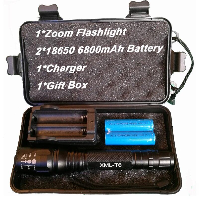 8000 lumen Taschenlampe CREE XM-L T6 LED Zoomable Fokus 5 modi Taschenlampe Taktische Taschenlampe Camping Lampe Außen