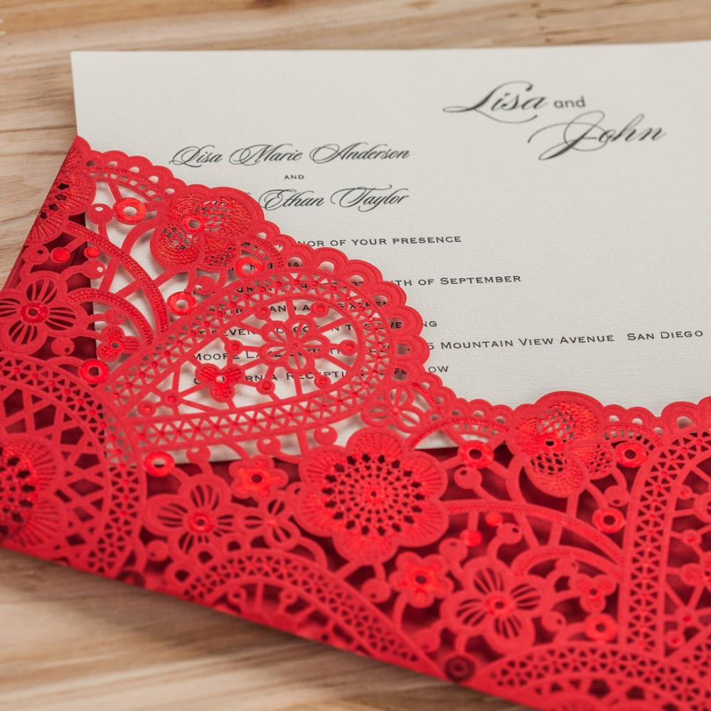 Laser Cut Wedding Invitations Cards Gold Black Red Flora Customized ...