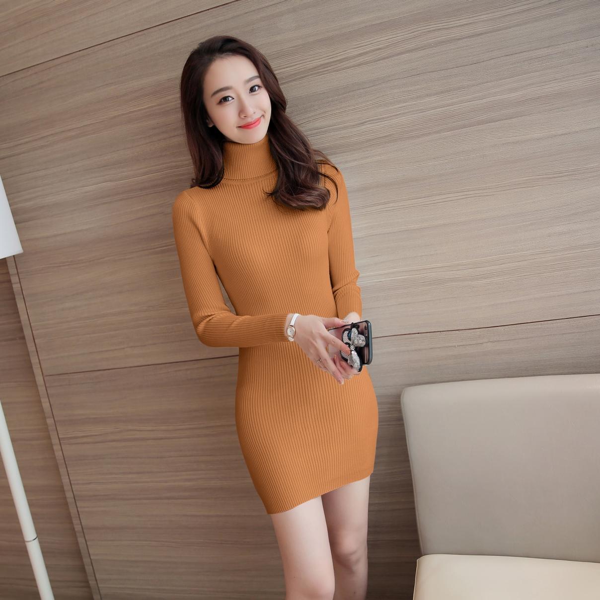 Video turtle Sexy Knit Dress Fashion 2018 New Womens Autumn Spring Long Sleeve Dresses Famale OL Elegant Slim Dress