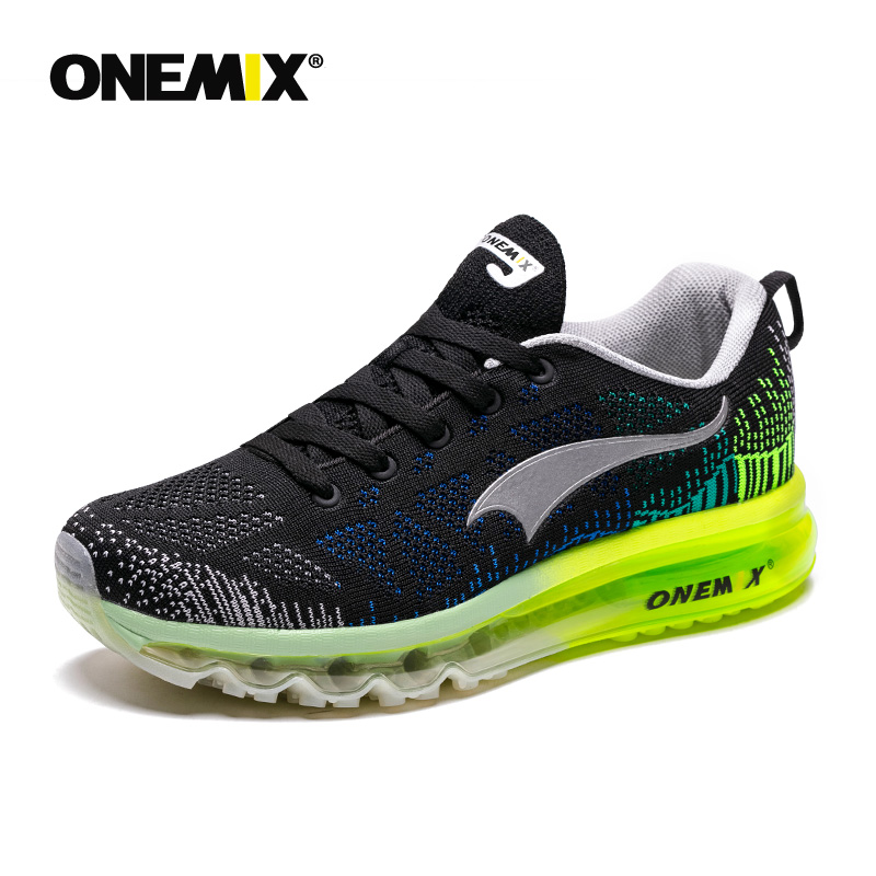 Onemix Men Running Shoes Breathable Mesh Male Sport Sneaker Light Athletic Shoes Zapatillas Hombre Green Trainers Jogging Shoes