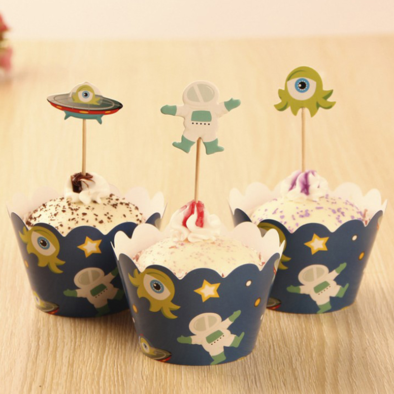 Aliexpress.com : Buy 12sets Space Theme Cupcake Liner Wrap Wrappers With  Toppers Kids Girl Boy Birthday Baby Shower Party Decoration Accessories  From ...