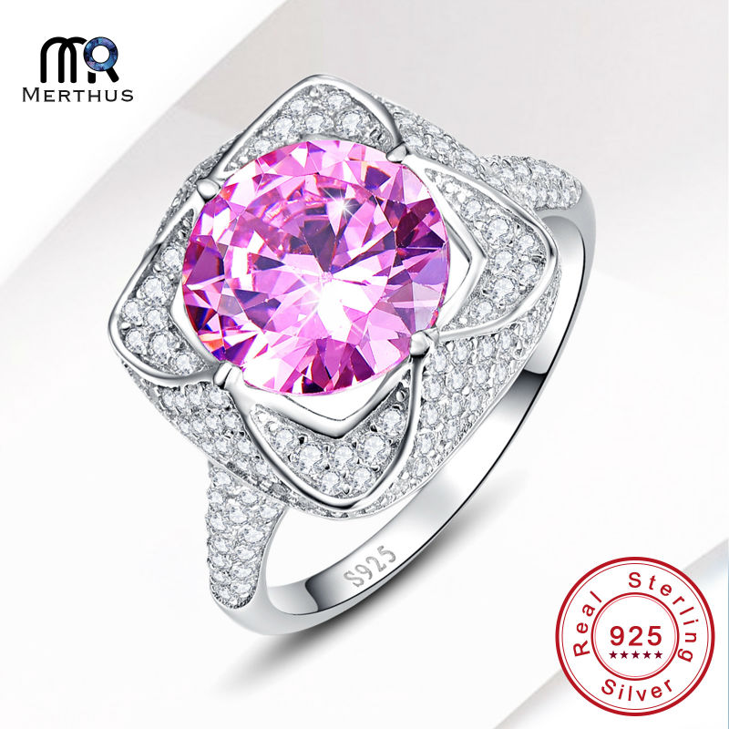 Fashion AAA Pink Zircon 100 925 Sterling Sliver Finger Ring Engagement Wedding font b Jewlery b