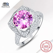Fashion AAA Pink Zircon 100% 925 Sterling Sliver Finger Ring Engagement Wedding Jewlery With Gift Box Size 6 7 8 9