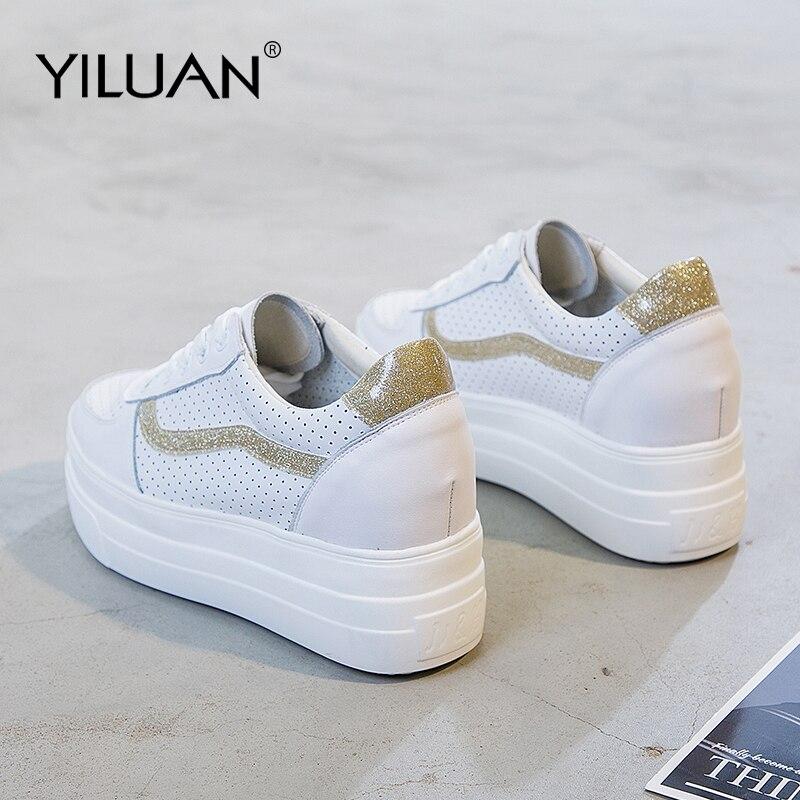 Yiluan 2019 Printemps été Nouveau Blanc Sneakers Femmes creux chaussures décontractées Confortable Chunky Wedge chaussures à semelles compensées Dames Fille 34-39