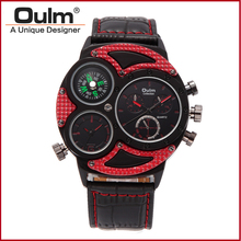 OULM Brand Watches Men Luxury Top Quartz-watch 3 Dials Vintage Military Wristwatch Male Leather Clock relogio masculino