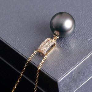 "Image 3 - [י""ש] יוקרה 18K צהוב זהב תליון 9 10mm טבעי שחור מטהיטי פרל תליון שרשרת עבור נשים"